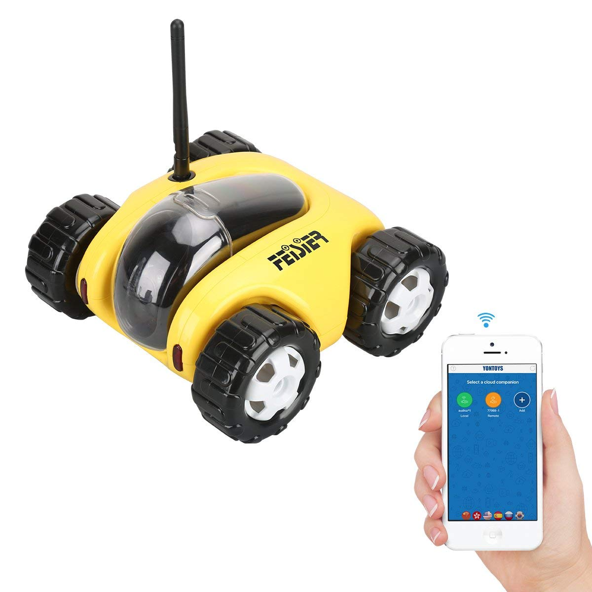 FEISIER Cloud Rover IV Cloud Companion RC Car Wi-Fi P2P Remote Control 1.3MP 720P HD Baby Monitor SPY Tank Car APP Control Movement Motion IP Camera Home Remote Camera with Charging Dock (Yellow)