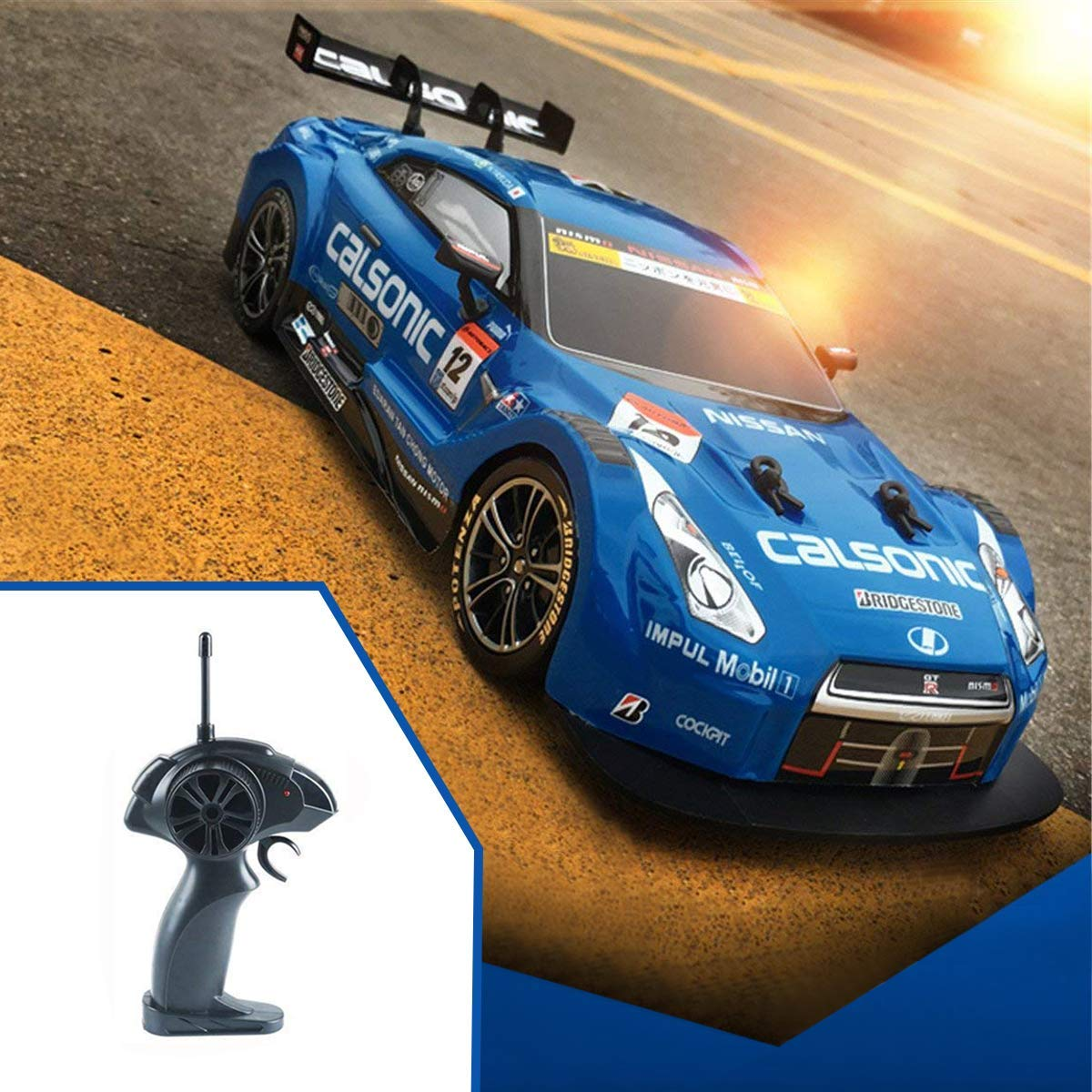 Hobby-Ace Super GT RC Sport Racing Drift Car, Electric Remote Control Car for Adults Kids Gifts, 1/16 Scale 4WD RTR Module Vehicles with 6 Battery and Drift Tires (Blue)