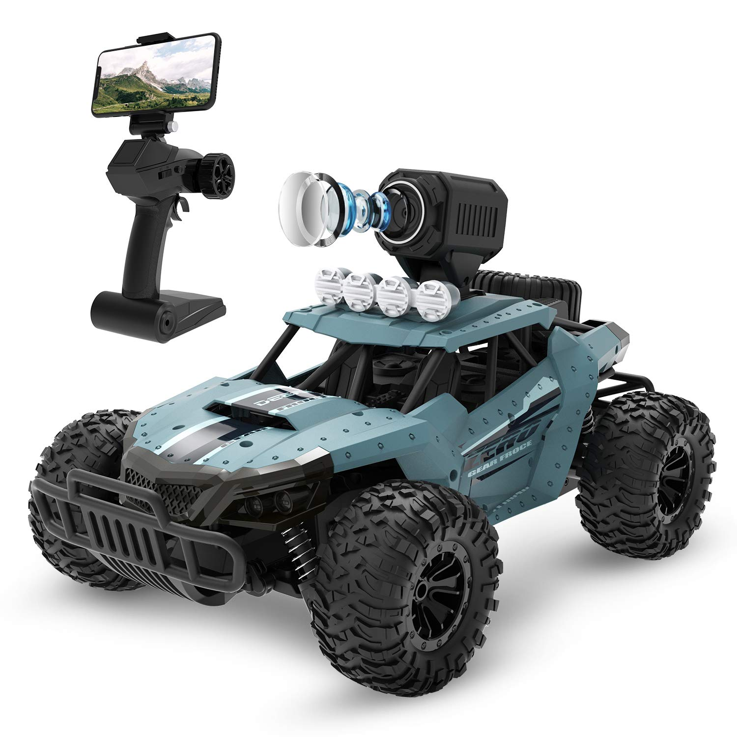 DEERC RC Cars DE36W Remote Control Car with 720P HD FPV Camera, 1/16 Scale Off-Road Remote Control Truck, High Speed Monster Trucks for Adults Kids, All...