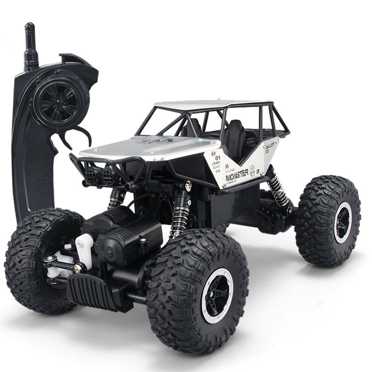 SZJJX RC Cars Off-Road 4WD 2.4Ghz High Speed 14 Radio Remote Control Rock Vehicle Crawler Truck Racing Cars Electric Fast Race Buggy Hobby Car Silver