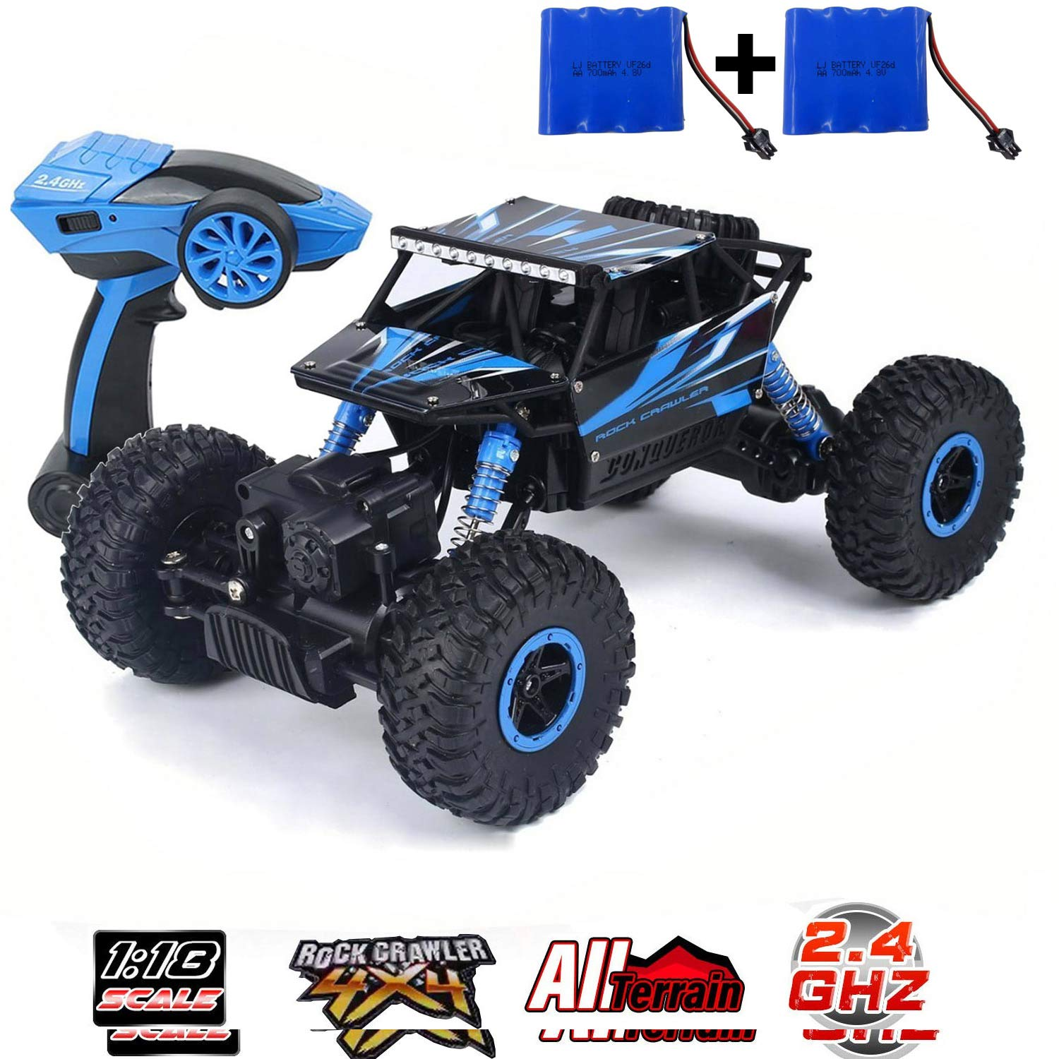 SZJJX RC Cars Off-Road Remote Control Car Trucks Vehicle 2.4Ghz 4WD Powerful 8 Racing Climbing Cars Radio Electric Rock Crawler Buggy Hobby Toy for Kids Gift-Blue